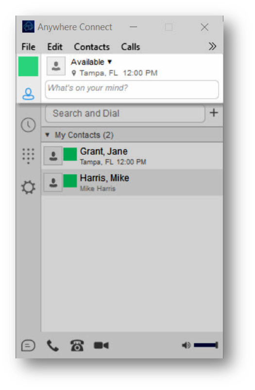Anywhere Connect with User Status set to available and What's on your mind highlighted - Image opens in full resolution in a new tab