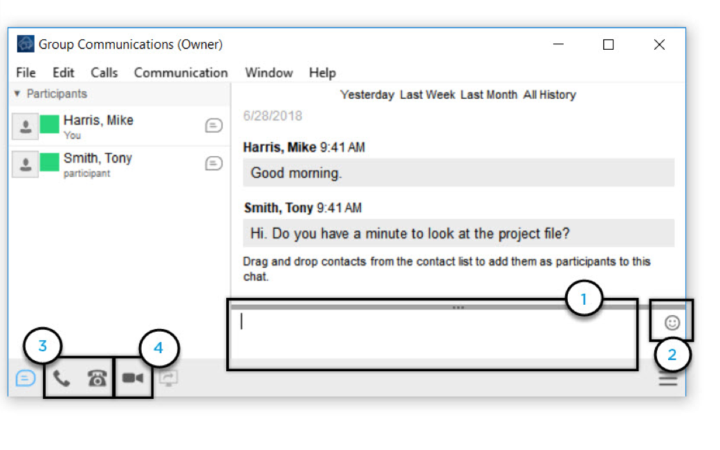 Group Communications window with chat message textbox, add emoticon, audio and video call options highlighted - Image opens in full resolution in a new tab