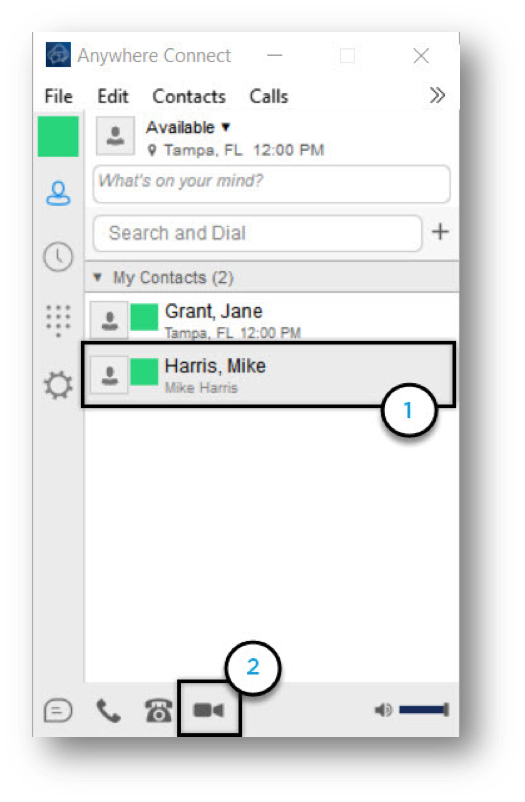 Anywhere Connect with contact and video call icon highlighted - Image opens in full resolution in a new tab