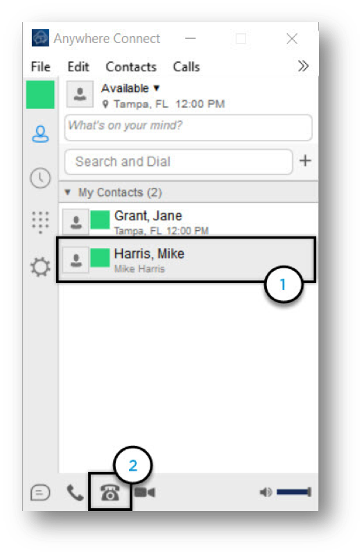 Anywhere connect with contact and audio call icon highlighted - Image opens in full resolution in a new tab