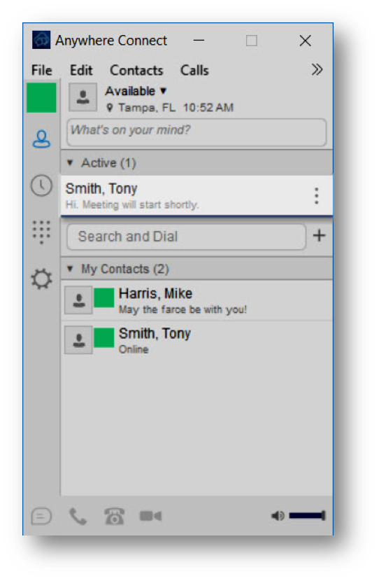 Active communication highlighted at the top of contacts list in main window - Image opens in full resolution in a new tab
