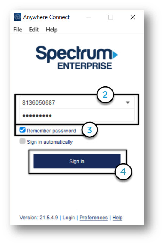 Anywhere Connect Window with Login username and password fields filled out, and Sign In button - Image opens in full resolution in a new tab