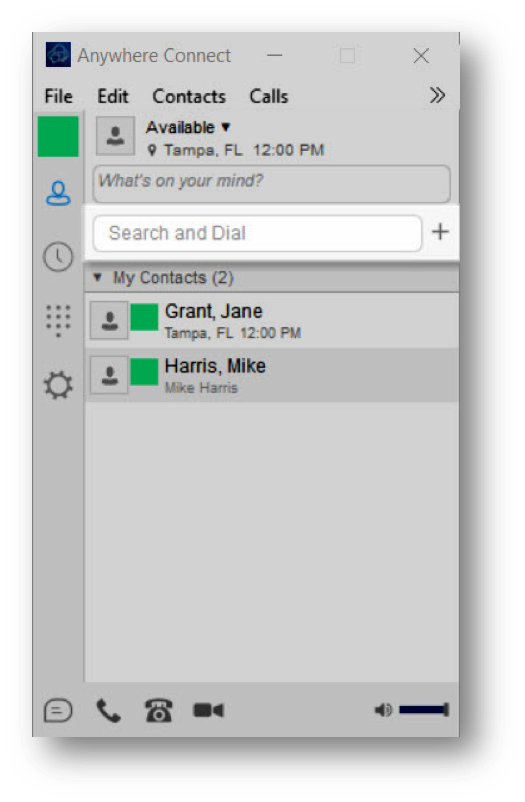 Anywhere Connect with search and dial field highlighted - Image opens in full resolution in a new tab