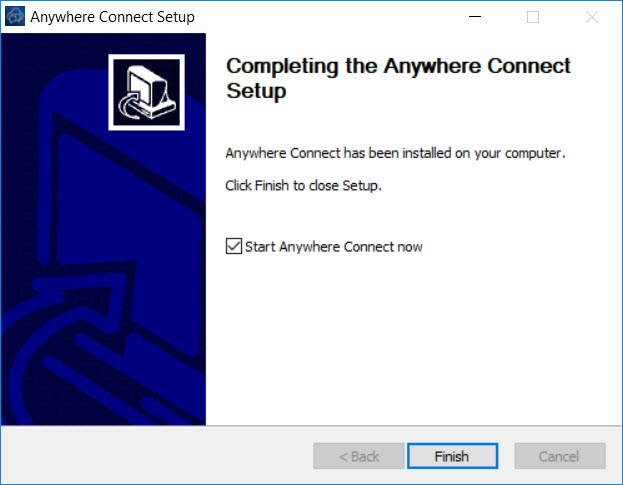 Completing Anywhere Connect Setup Window with Finish button highlighted - Image opens in full resolution in a new tab