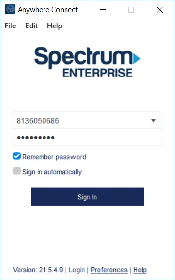 Anywhere Connect with login username and password fields filled in - Image opens in full resolution in a new tab