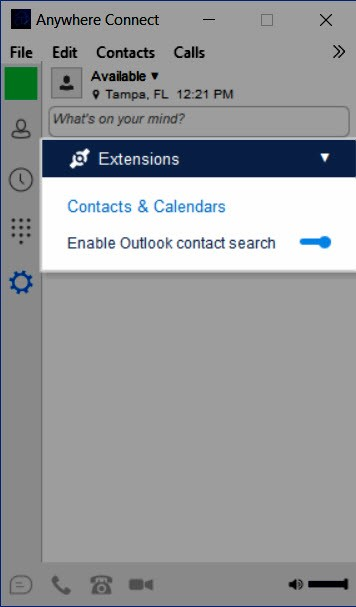 Extensions menu with Enable Outlook contact search slider set to enabled - Image opens in full resolution in a new tab