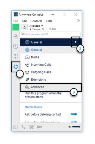 General Settings with Advanced option highlighted - Image opens in full resolution in a new tab