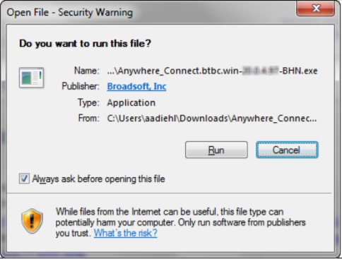 Open File - Security Warning dialog box with run and cancel options - Image opens in full resolution in a new tab