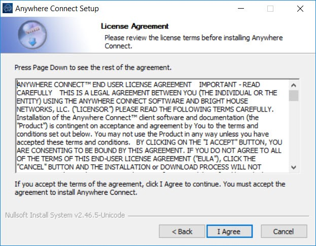 Anywhere Connect Setup Window with license agreement and I agree button highlighted - Image opens in full resolution in a new tab