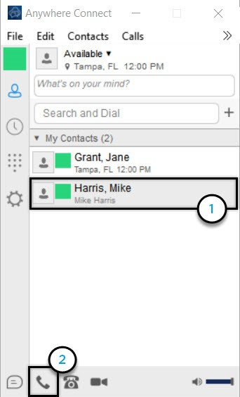 Anywhere connect with contact from list and call icon highlighted - Image opens in full resolution in a new tab