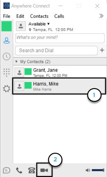 Anywhere Connect with contact from contact list and video call icon highlighted - Image opens in full resolution in a new tab