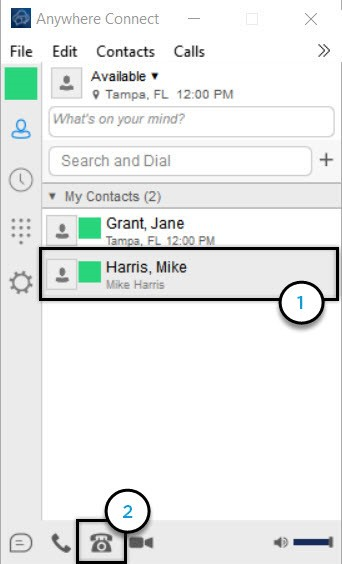 Anywhere Connect with contact from contact list and call from phone icon highlighted - Image opens in full resolution in a new tab