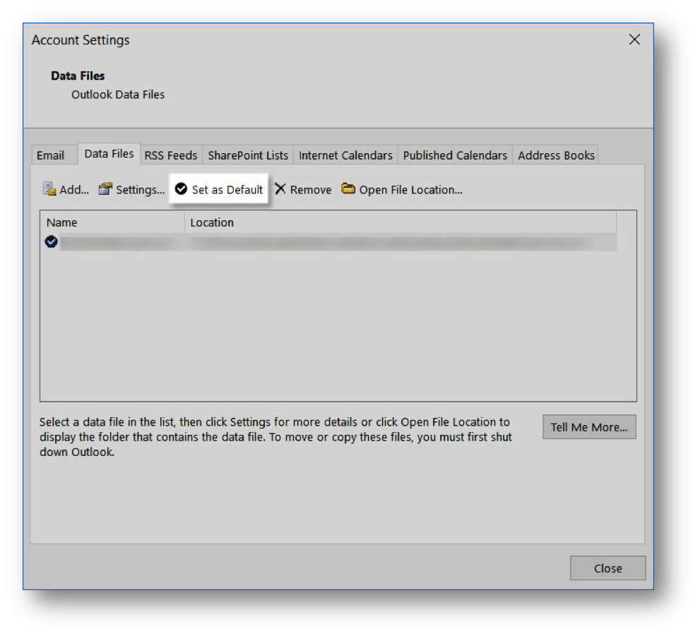 Account Settings Data Files tab with Name and Location set as Default - Image opens in full resolution in a new tab