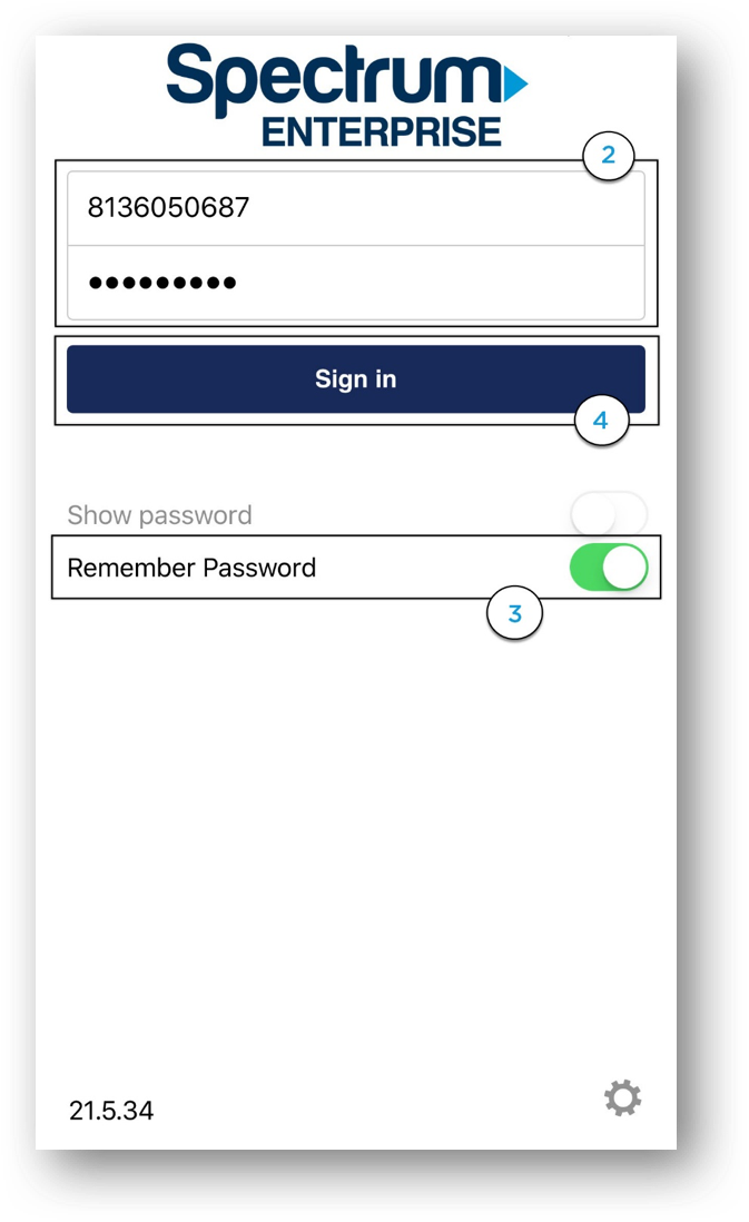 Spectrum Enterprise login screen with username and password fields with Sign in button and Remember password option - Image opens in full resolution in a new tab