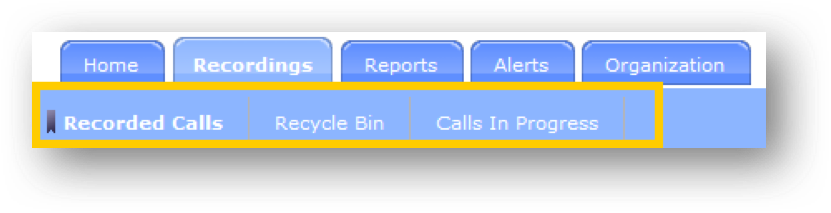 Recordings tab displaying menu items for Recorded call, recycle bin and call in progress - Image opens in full resolution in a new tab