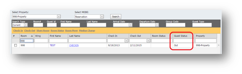 Hospitality Portal Search is shown with Filter option. Guest Status is Highlighted - Image opens in full resolution in a new tab