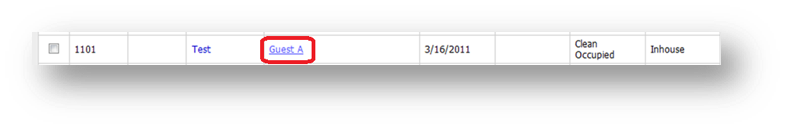 Search fields are shown of the Hospitality Portal with Guest A highlighted - Image opens in full resolution in a new tab