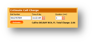 Estimate Call Details are shown of the Hospitality Portal - Image opens in full resolution in a new tab