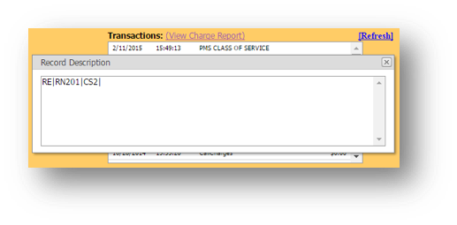 Transactions window is shown of the Hospitality Portal - Image opens in full resolution in a new tab