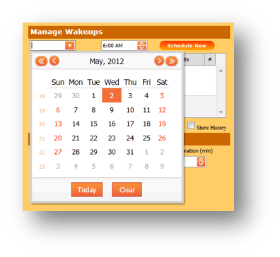 Manage Wakeups window is shown of the Hospitality Portal with the calendar expanded - Image opens in full resolution in a new tab