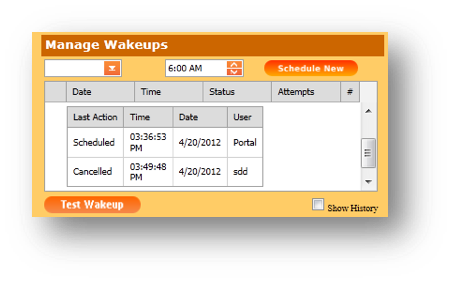 Manage Wakeups window is shown of the Hospitality Portal - Image opens in full resolution in a new tab
