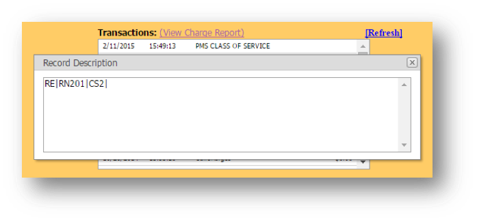 Transactions Note window is shown of the Hospitality Portal - Image opens in full resolution in a new tab
