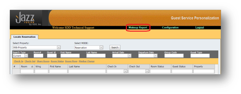 Wakeup Call Report window is shown of the Hospitality Portal with Wakeup Report Highlighted - Image opens in full resolution in a new tab