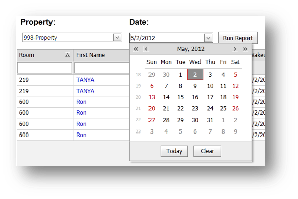 Wakeup Call Property window is shown of the Hospitality Portal with Calendar showing - Image opens in full resolution in a new tab