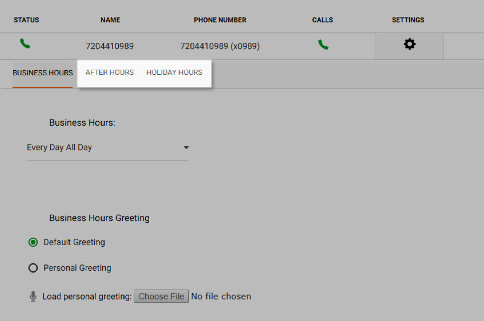View of voice portal. Shows after hours and holiday hours options - Image opens in full resolution in a new tab