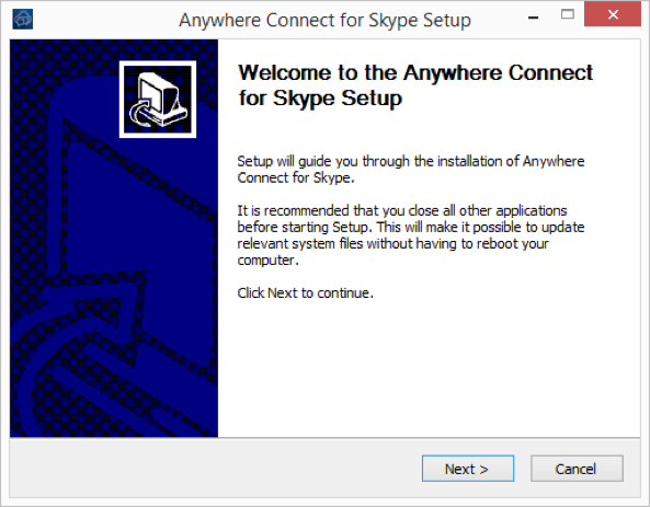 Welcome to anywhere connect Skype Setup installation window with next and cancel options - Image opens in full resolution in a new tab
