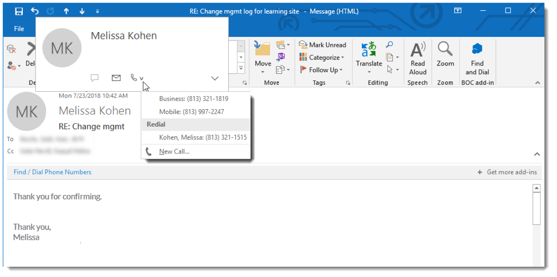 Outlook email window with Contact window displayed, phone icon highlighted and optional phone numbers listed - Image opens in full resolution in a new tab