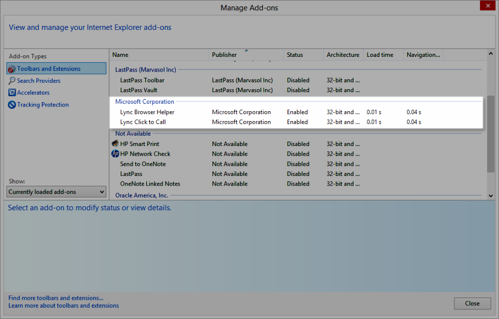 Manage Add-ons window with Microsoft Corporation section highlighted - Image opens in full resolution in a new tab