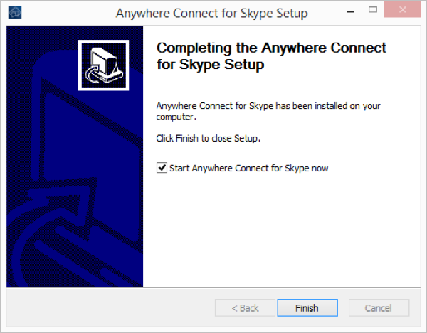 Completing the Anywhere connect for skype setup window with back, finish and cancel buttons. Cancel button highlighted and start anywhere connect for skype now checked off - Image opens in full resolution in a new tab
