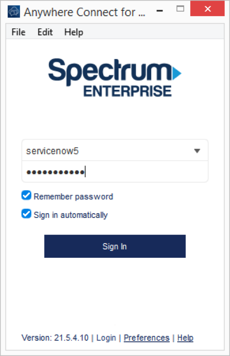 Anywhere connect login screen with Spectrum Enterprise logo, login fields for username and password filled out, remember password and sign in automatically boxes checked off - Image opens in full resolution in a new tab