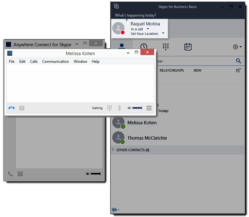 Skype for Business Basic with User set to in a call, and window with contact in current call - Image opens in full resolution in a new tab