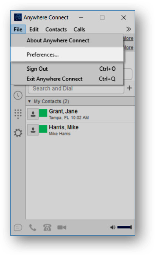 Anywhere Connect File menu with preferences highlighted - Image opens in full resolution in a new tab