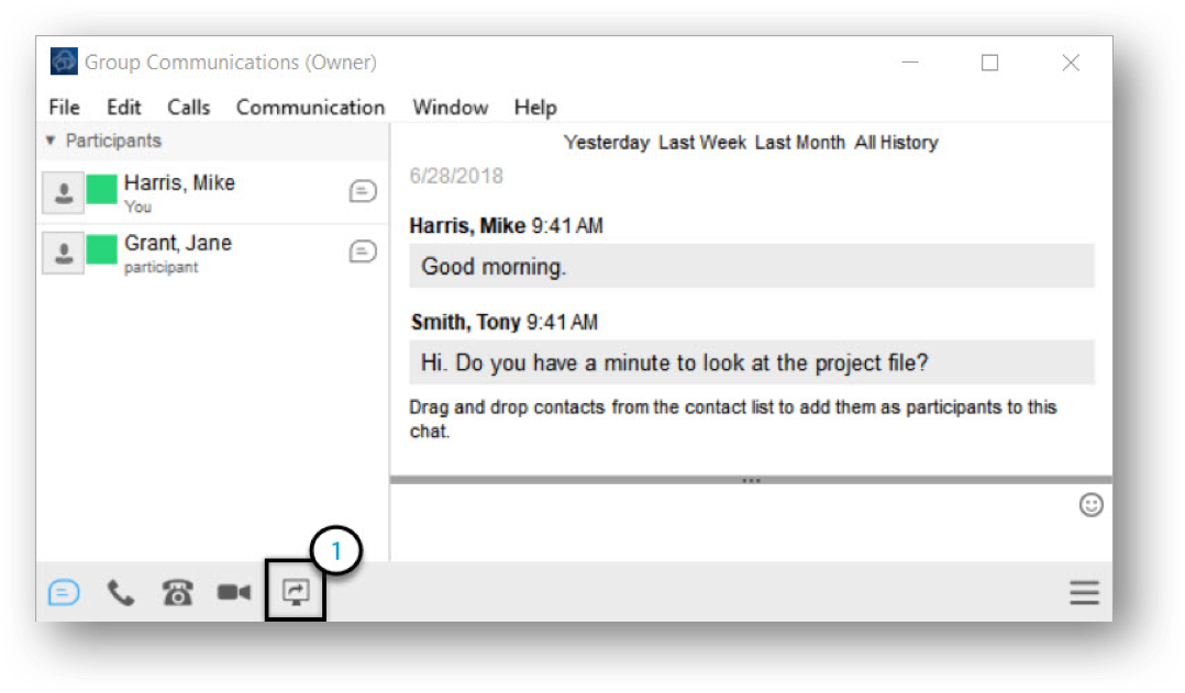 Group communication window with sharing icon highlighted - Image opens in full resolution in a new tab