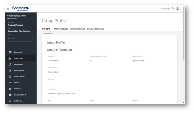 Admin Portal Group Profile view with options for group level information. Main navigation along the Left Hand side consisting of buttons for; Dashboard, Group Profile, Departments, Manage Users, Group Services, Utiltites, Directory, Diaster Redirect and Call Details. - Image opens in full resolution in a new tab