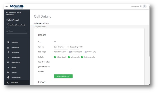 Admin Portal Call details view with create a report including options for; User, Sort by, Date Range, Searh by Full or Partial Telephone Number. Create Report Button follows.  Main navigation along the left hand side consisting of buttons for; Dashboard, Group Profile, Departments, Manage Users, Group Services, Utiltites, Directory, Diaster Redirect and Call Details.. - Image opens in full resolution in a new tab