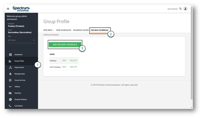 Admin Portal Group profile view with option to add holiday schedule button highlighted. Main navigation along the left hand side consisting of buttons for; Dashboard, Group Profile, Departments, Manage Users, Group Services, Utiltites, Directory, Diaster Redirect and Call Details.- Image opens in full resolution in a new tab