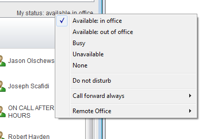 Unity window showing my status with 6 optional settings, Available in office, Available out of office, Busy, Unavailable, None, and Do not disturb - Image opens in full resolution in a new tab