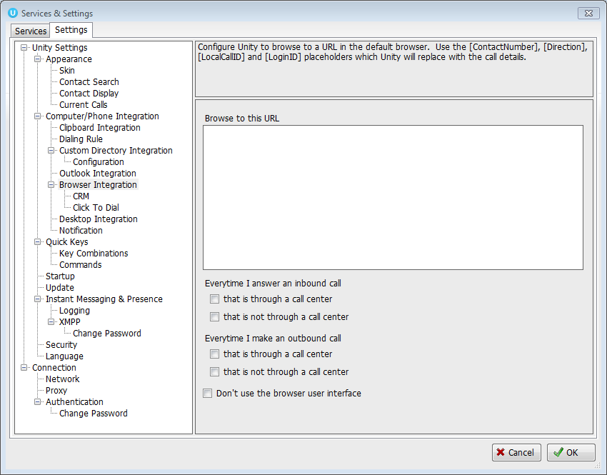 Services & Settings window with Browser integration highlighted - Image opens in full resolution in a new tab