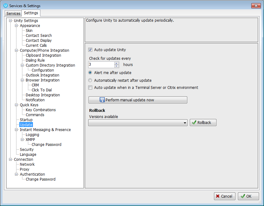 Unity Settings with Update Highlighted and configure unity options - Image opens in full resolution in a new tab