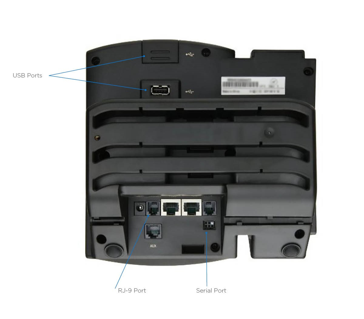 Polycom VVX back view. Shows USB ports, RJ-9 port and Serial Ports. Image opens in full resolution in a new tab