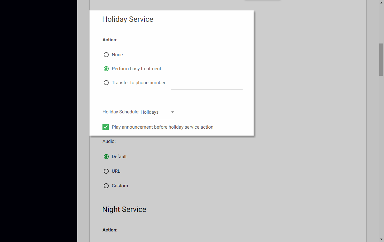 Screenshot of the Call Center Routing Policies window in UCEP with Holiday Service settings highlighted.