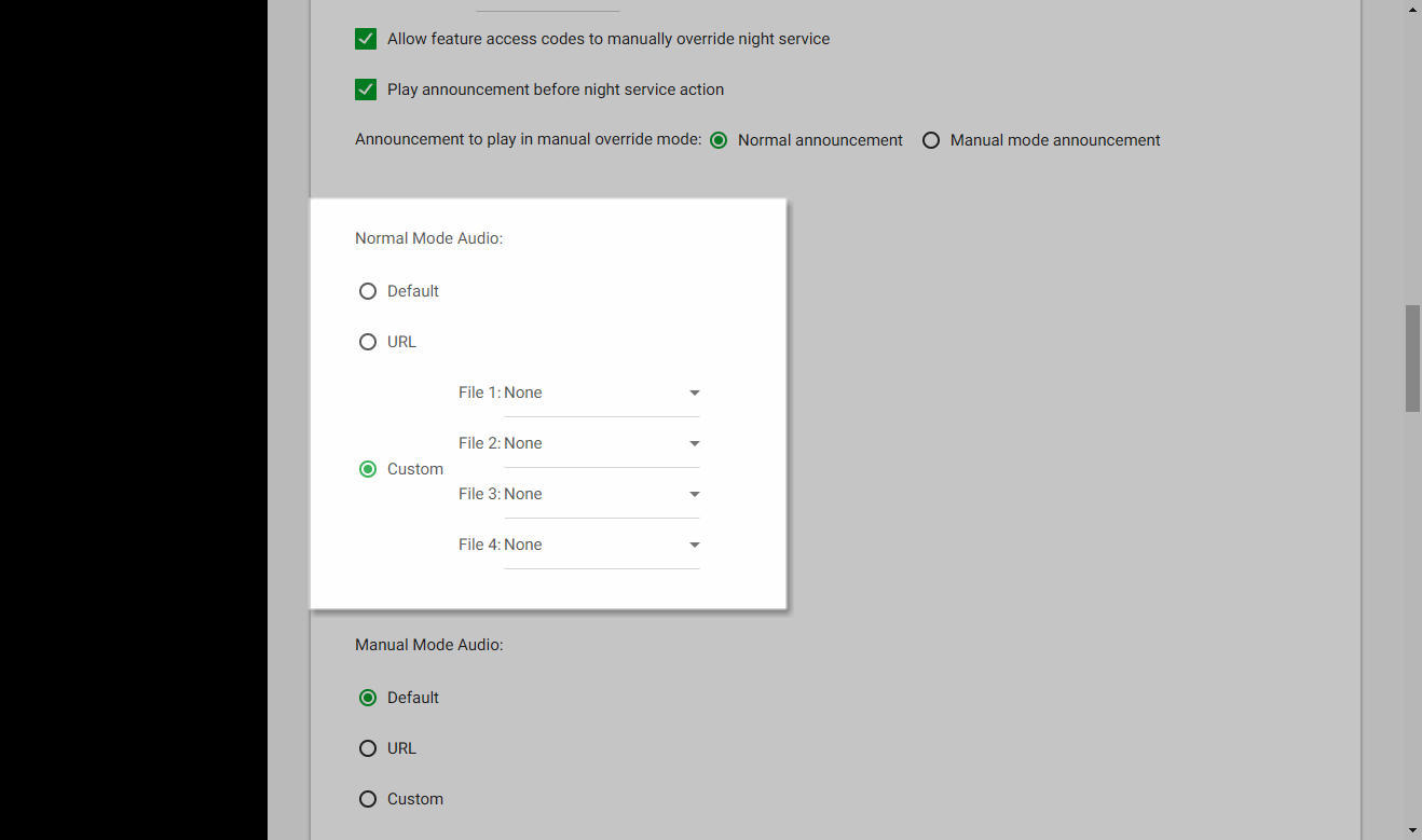 Screenshot of the Call Center Routing Policies window in UCEP with the audio settings for Night Service highlighted.