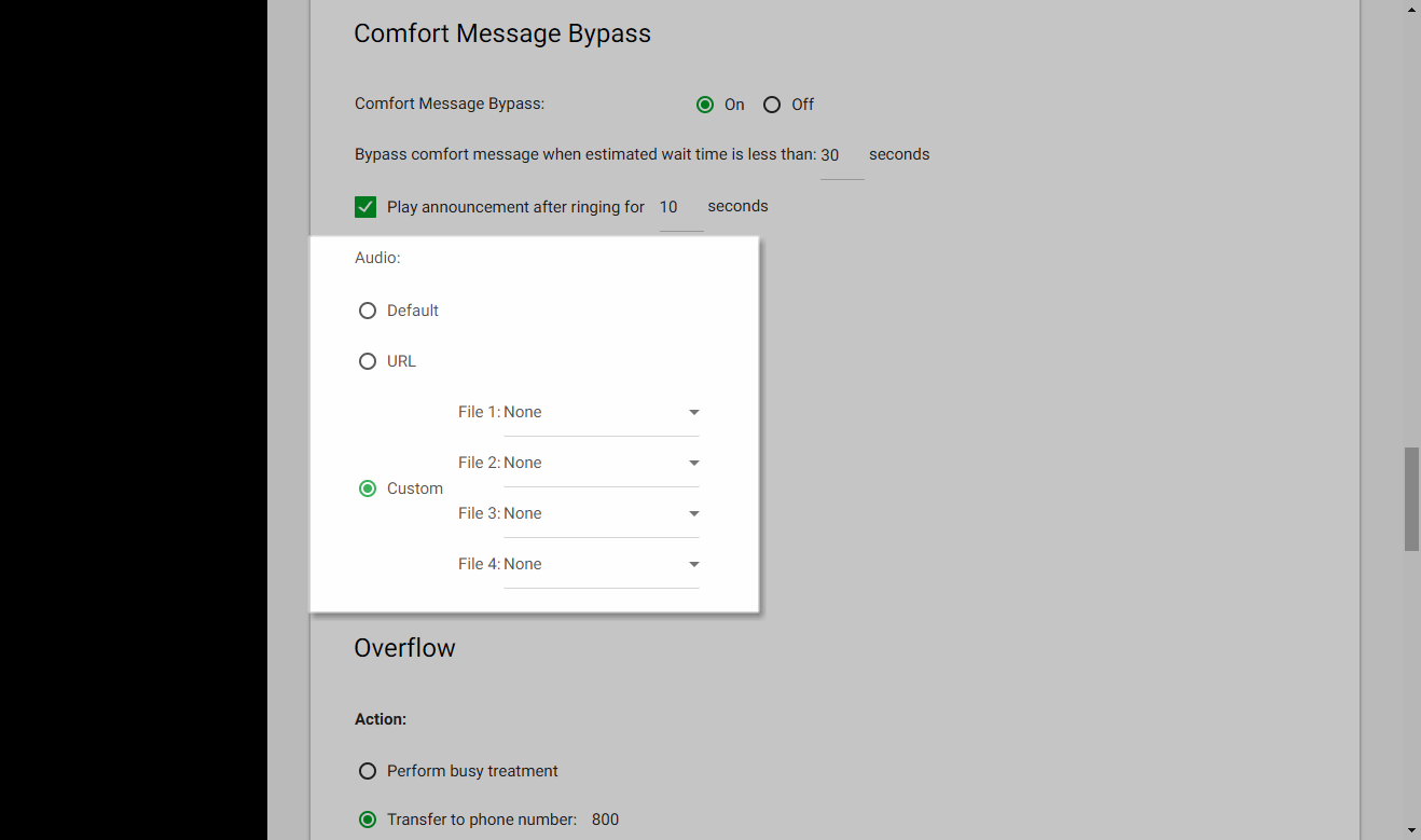 Screenshot of the Call Center Routing Policies window in UCEP with the audio settings for Comfort Bypass highlighted.