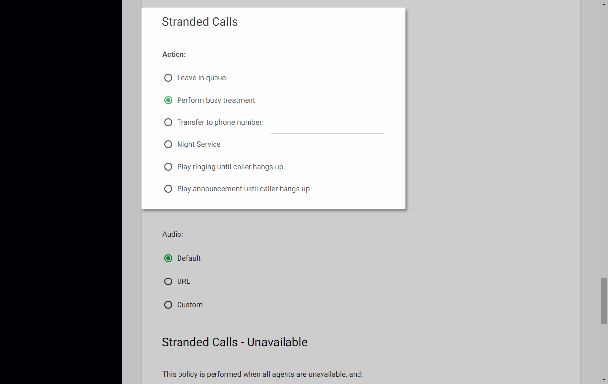 Screenshot of the Call Center Routing Policies window in UCEP with Stranded Calls settings highlighted.