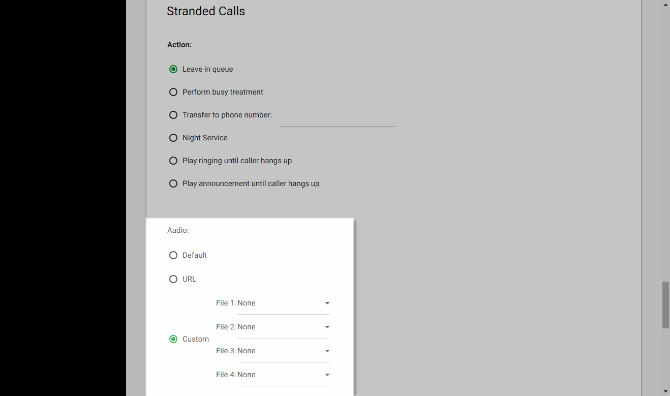 Screenshot of the Call Center Routing Policies window in UCEP with the audio settings for Stranded Calls highlighted.