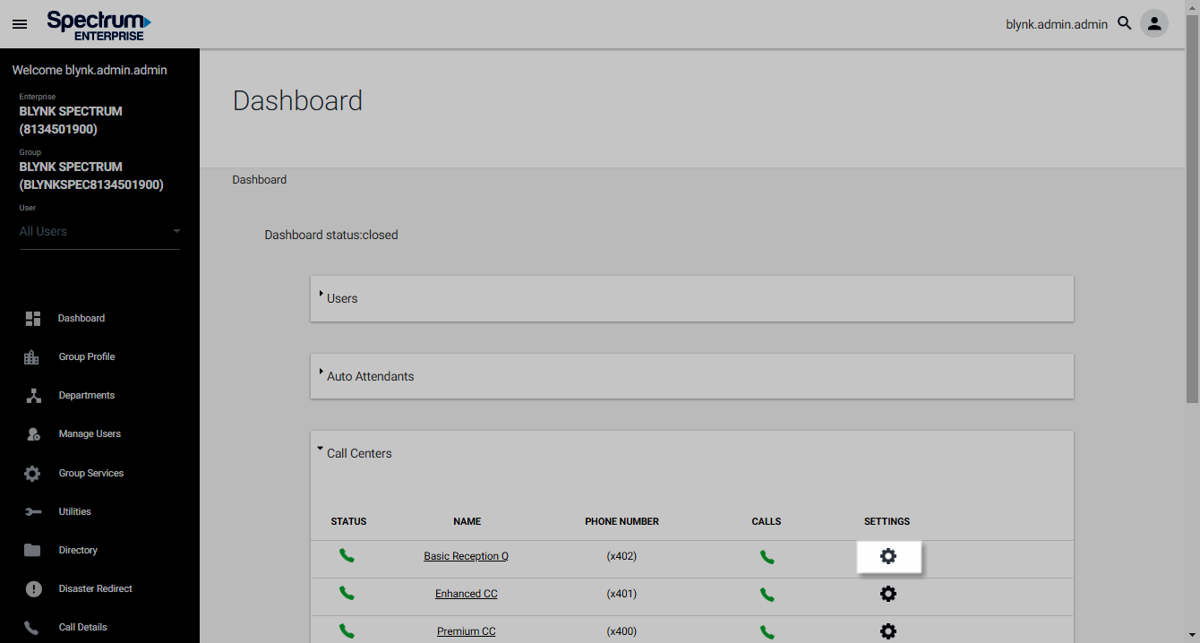 Screenshot of the Dashboard in UCEP with the Settings icon highlighted under Call Centers.